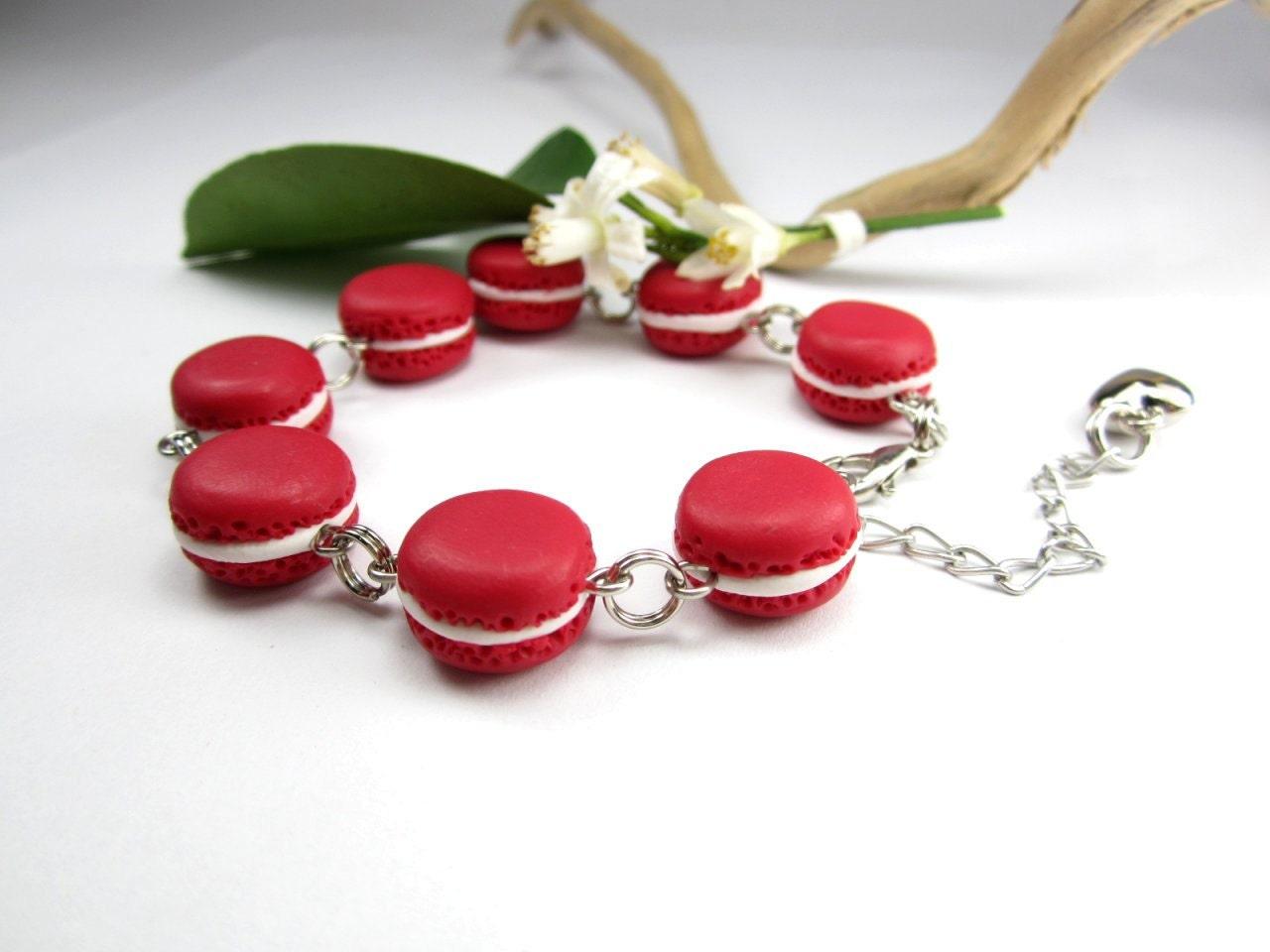 Red French Macaron Bracelet Food Jewelry food bracelet