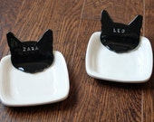 Set of 2 - Personalized Kitty Cat Food Dishes - Custom Made to Order