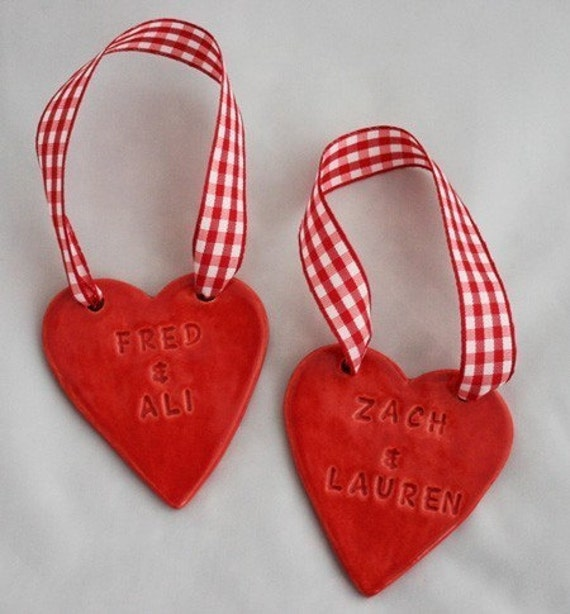 Personalized Heart Couples Ornament - Custom Made to Order
