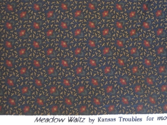 Dark Blue Floral Quilt Fabric - Kansas Troubles Meadow Waltz - 1 Yard