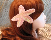Pink Starfish Sequin Hair Clip
