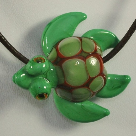 Lampwork Nautical Sea Turtle Pendant Focal Glass Bead