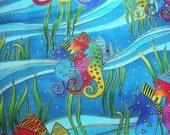 Ocean Songs Seahorse Fabric-- ONE yard