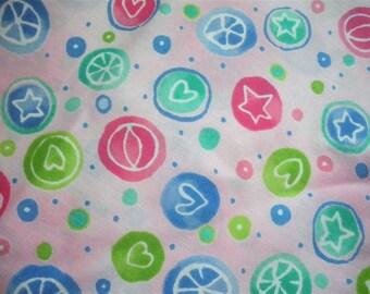 Stars and Love Circles Fabric-- ONE yard