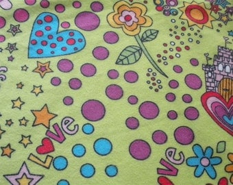 Princess Story on Lime Flannel Fabric-- ONE YARD