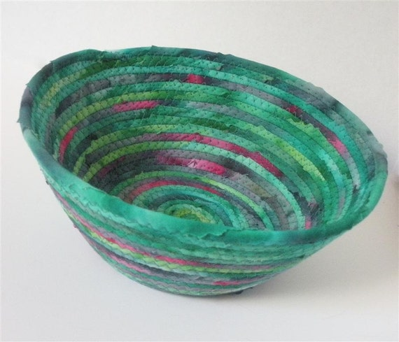 Medium Green With a Hint of Blue and Pink Bowl