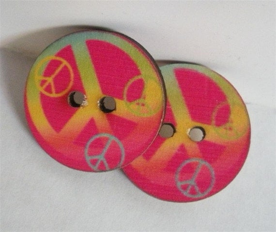 Wooden Peace Symbol Buttons