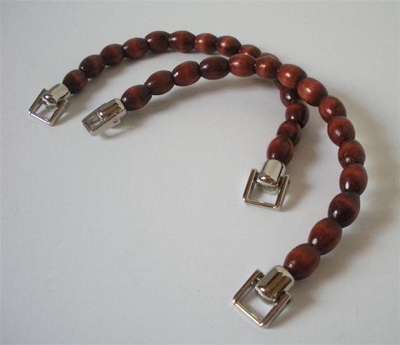 Brown Beaded Purse Handles- Set of 2