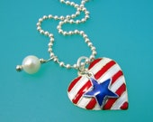 Heart of America Charm Pendant - Enamel on Sterling Silver - Vintage - Red White and Blue