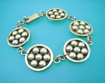 Mod Circle and Dots Flower Taxco Mexico Bracelet - Vintage Sterling Silver