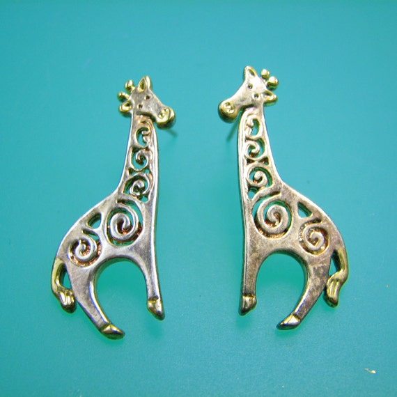 Pierced Giraffe Earings  - Vintage Sterling with Gold Plated