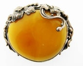 Beautiful Vintage Sterling Silver and Milky Amber Brooch