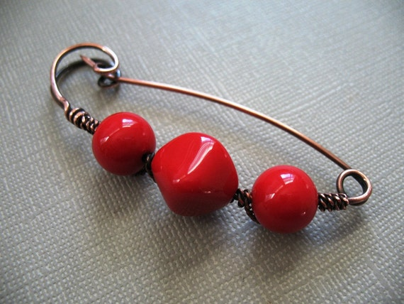 Two For One Cherry Bomb With a Twist Copper Scarf Pin or Shawl Pin or Sweater Pin