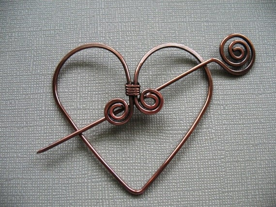 Twisted Heart Copper Scarf Pin or Hat Pin or Shawl Pin