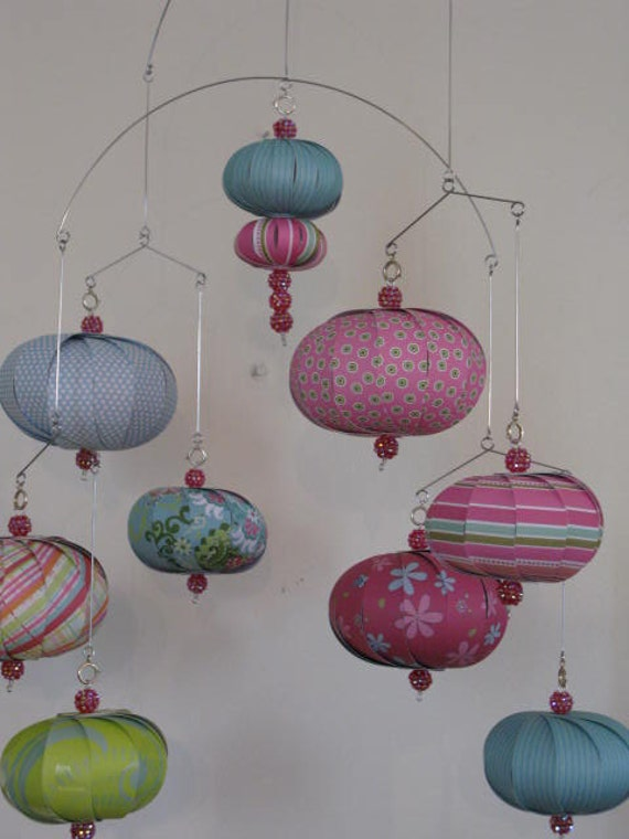 Hanging mobile pink blue green sparkly beads