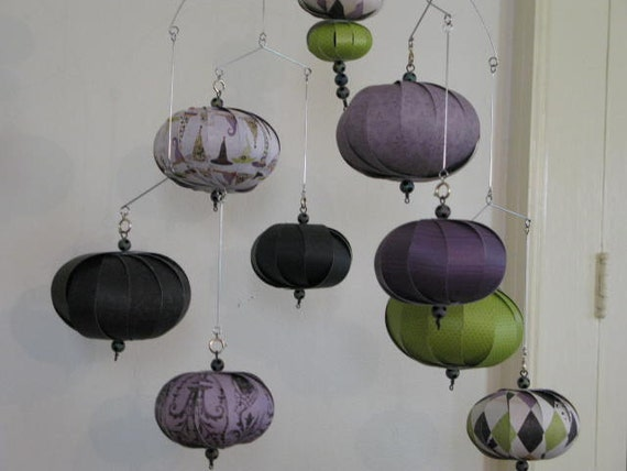 Hanging mobile purple green black witches hats