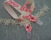 Modest Milk Clips- convert anything into a nursing cover, bib, or a toy/blanket tether,-Red Toile
