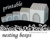 5 Plain Houses- NESTING BOX SET , template, pdf, printable