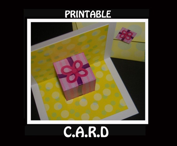 Printable Pop Up Birthday Cards ~ Yellow pop up birthday card with envelope printable