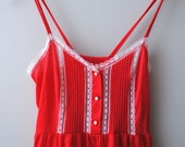 vintage 80's fire engine red nightgown S/M