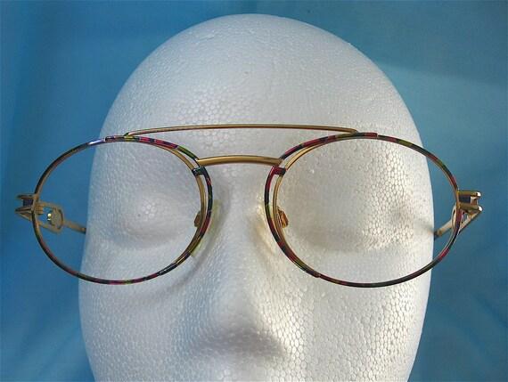 Cazal Pink and Teal Eyeglass Frames
