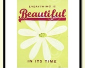 Everything Is Beautiful word art - daisy flower fine art print