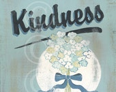 Breathe Kindness - aqua retro flower sign art print