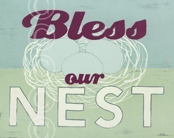 word art print - Bless Our Nest - retro style sign art