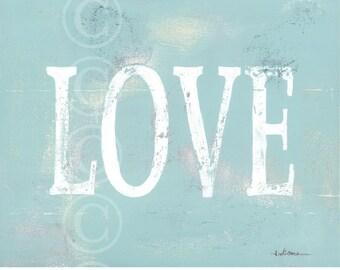 LOVE word art - aged art print - AQUA