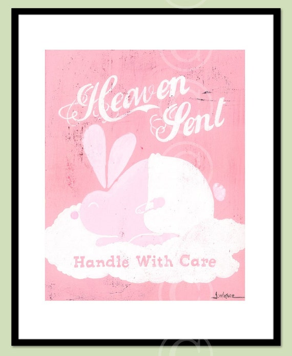 Heaven Sent - Handle With Care - PINK baby art print