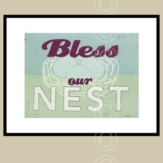 Word Art Print Bless Our Nest Retro Style Sign Art