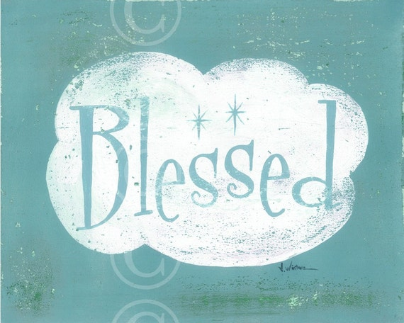 word art - BLESSED - fine art print 8x10 - TURQUOISE