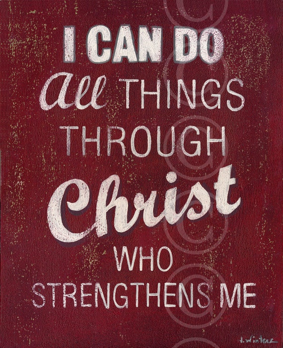I Can Do All Things Through Christ Who Strengthens Me - Red Retro Style Word Art