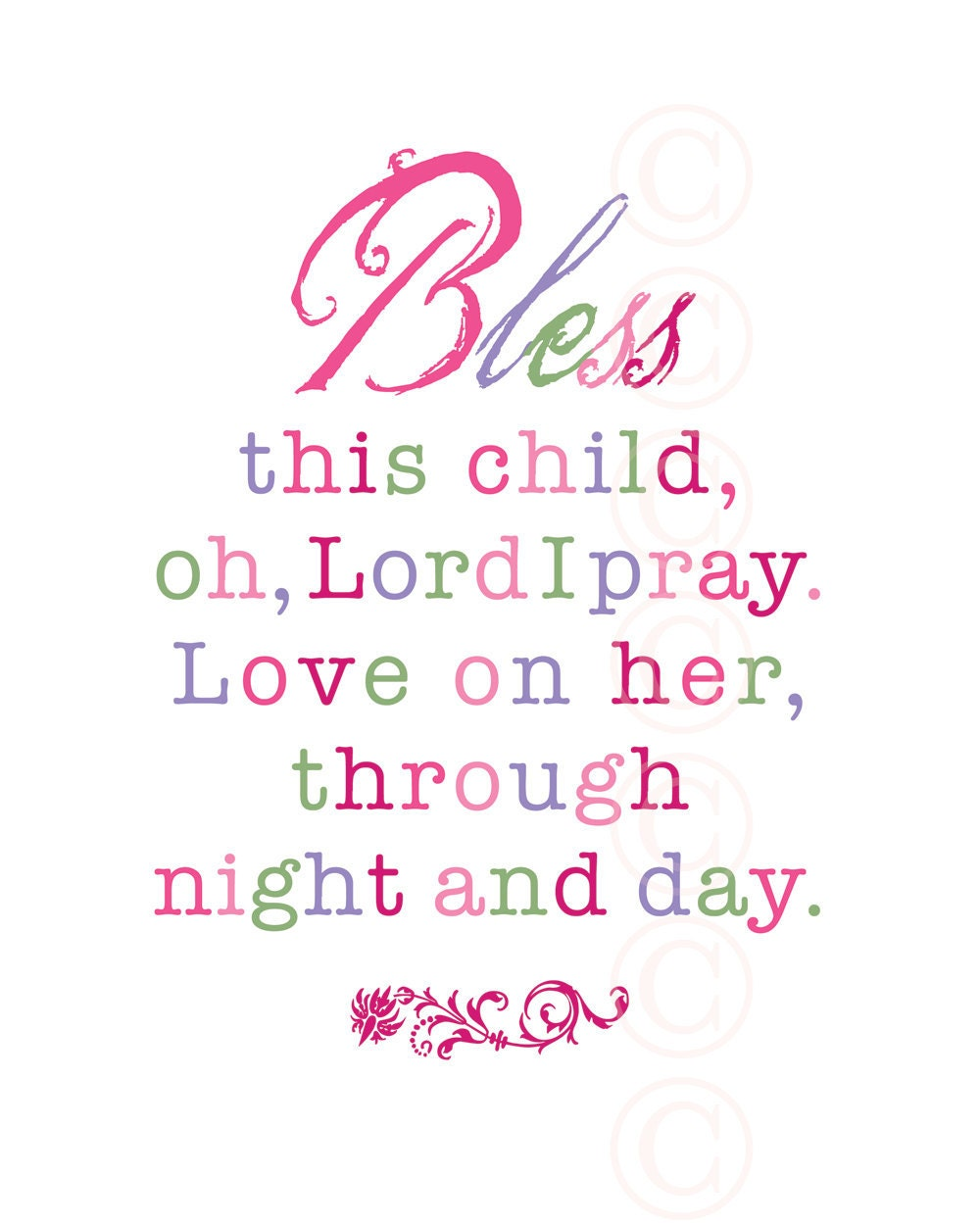 Convey Your Little Girl S Personality Through Her Bedroom: Girl's Art Print Prayer Bless This Child Pink Script