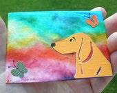 Rainbow Watch Dog Dachshund Original Art ACEO