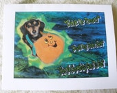 Halloween Cards With Dachshunds Set Of Four With Envelopes