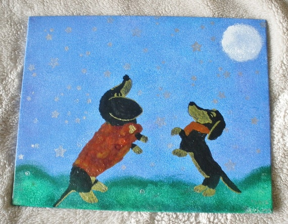 Dachshund Painting On Canvas Panel 8 X 10 Inch Art Original Signed Dated Moon Dance Night Sky
