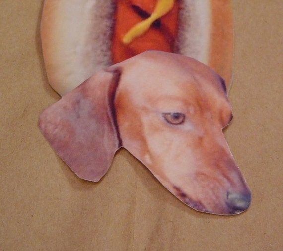 Red Hot Dog Bookmarks or gift tags or both set of 3