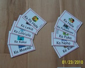 FLASH CARDS (SET 1) - 'Olelo Hawai'i / English - 1 Theme of 10 cards