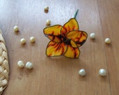 Yellow and Brown Flower Hair Pick