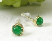 Tiny green jade post earrings gold filled wire wrapped mini - SueRunyonDesigns