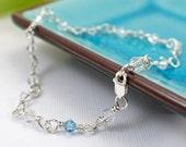 Something Blue anklet 8 9 10 11 inch Swarovski crystal wedding anklet sterling silver bicone wire wrapped anklet crystal anklet bridal
