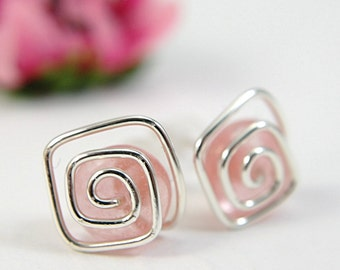 Pink post earrings sterling silver strawberry quartz spiral gemstone jewelry