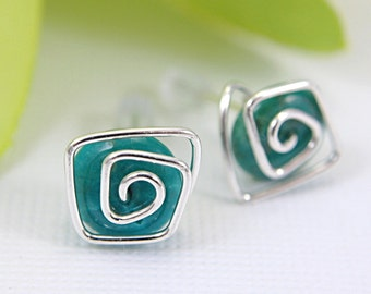 Turquoise spiral post earrings sterling silver wire wrapped jewellery