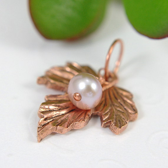 Copper Leaf pendant pink pearl medium large copper pendant grape leaf maple leaf pendant with cultured pearl for necklace 1 inch 5mm charm