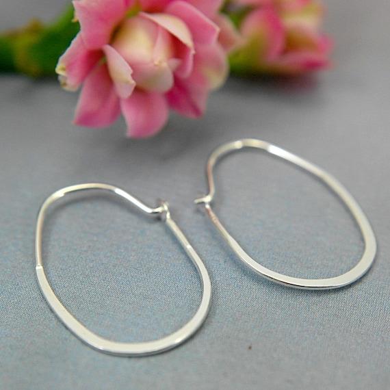 Oval hoop earrings sterling silver hoop earrings small thin light 1 inch minimalist earring