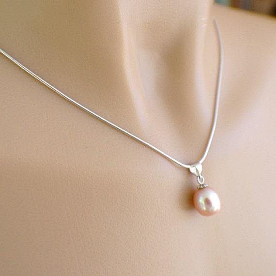 Pink pearl necklace set pendant teardrop oval earrings