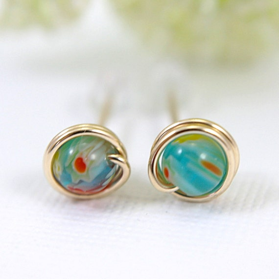 Tiny turquoise and red millefiori glass post earrings gold filled jewelry small