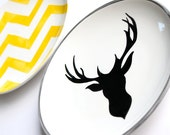 The Rustic Chic Collection Small Plate Gray Edging with Deer Silhouette Fantastic Wall Art