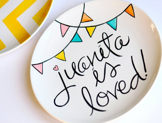 You Are Loved Collection Personalized Plate featuring pennant banner perfect for Special Days Featured On Etsy's Gift Guide